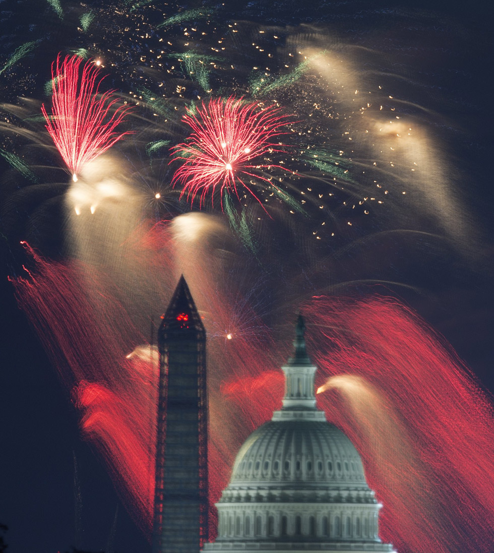 US Independence Day fireworks are seen over the US Capitol and Washington Monument on July 4, 2013 in Washington, DC.     AFP Photo/Paul J. Richards/AFP/Getty Images