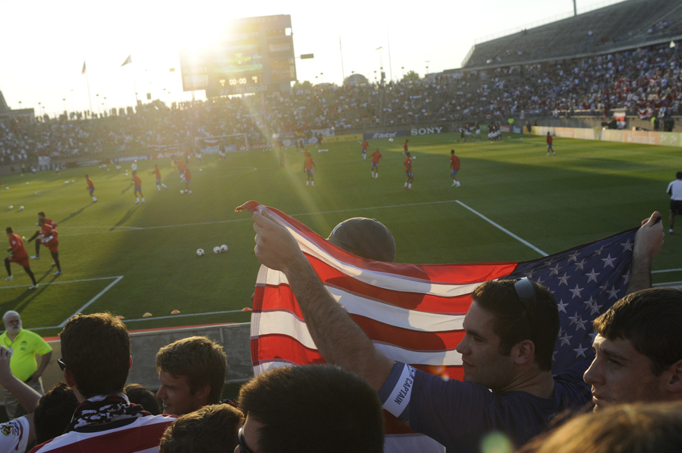 Fans sitting in the American Outlaws section, reserved for fans of the national group that follows the US soccer team, gather before the 2013 CONCACAF GoldCup games at Rentschler Field in East Hartford. The U.S. beat Costa Rica 1-0 and Cuba beat Belize 4-0. Richard Messina|rmessina@courant.com