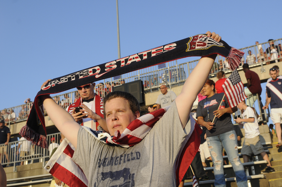 Andrew Hart, of Portland, Maine, said he came to the game to support the USA.soccer team at the 2013 CONCACAF GoldCup in East Hartford. Richard Messina|rmessina@courant.com