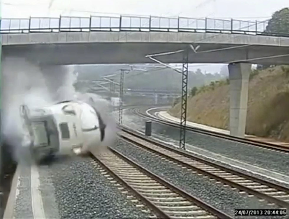 A security camera at the train station shows the train derailing on impact. REUTERS/CCTV via Reuters TV