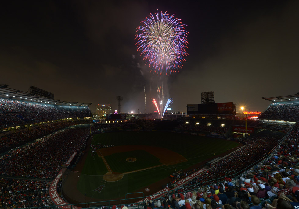 Fourth of July fireworks follow the game between the St. Louis Cardinals and the Los Angeles Angels in Anaheim, CA. Kirby Lee-USA TODAY Sports.