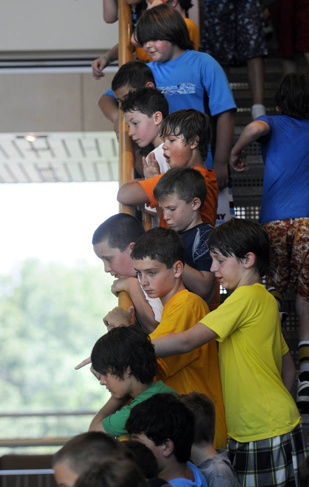 Hundreds of children attending Lacrosse camp took a break from the heat outside and lined the stairway of the Armour Academic Center to try and get a glimpse of the Stanley Cup during an event at the Westminster School Tuesday