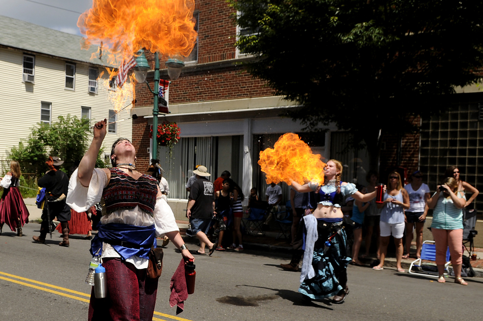 I have to say that my favorite part of the parade was when Jackie Lamittina of New Britain and Chelsey Chyer of Mansfield performed their fire breathing act for the crowd. As if it wasn't hot enough already...