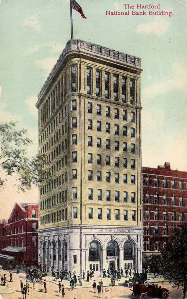 A postcard of the Hartford National Bank Building, known more recently as the Hartford-Aetna Building, mailed in 1913. The building was the first skyscraper in the city. Credit: Courtesy of Tomas J. Nenortas Collection