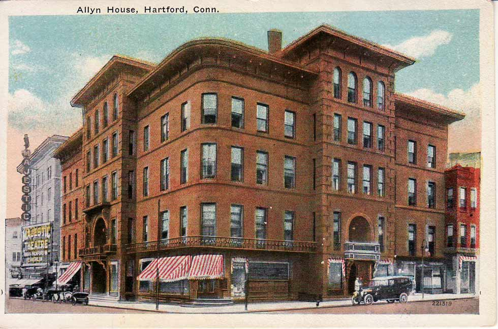 A postcard of Allyn House at the corner of Trumbull and Asylum Sts, likely from the late 1910s. Credit: Courtesy of Tomas J. Nenortas Collection