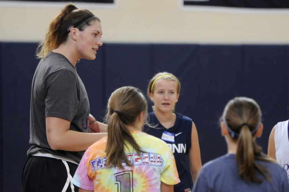 UConn basketball player, Stefanie Dolson talks to campers at the Kara Wolters Dream Big Basketball Camp for girls at Avon High School.