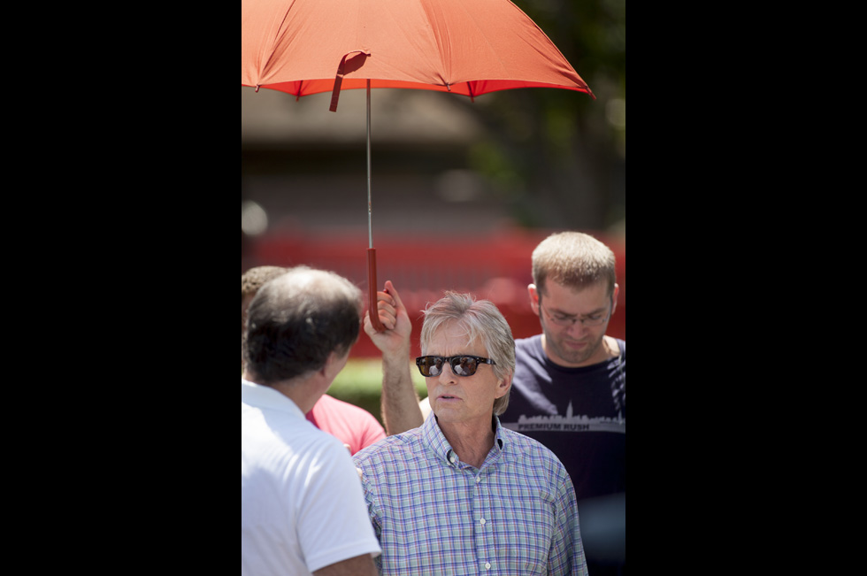 "2013.07.08 - Bristol, CT - Michael Douglas and Diane Keaton take part in the filming of the Rob Reiner movie, ""And So It Goes,"" at the Twister ride at Lake Compounce Theme Park in Bristol on Monday. Photograph by Will Parson 