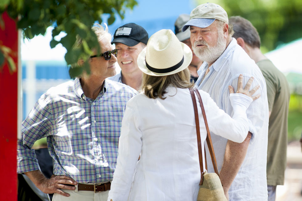 "2013.07.08 - Bristol, CT - Diane Keaton and Michael Douglas take part in the filming of the Rob Reiner movie, ""And So It Goes,"" at the Twister ride at Lake Compounce Theme Park in Bristol on Monday. Photograph by Will Parson 
