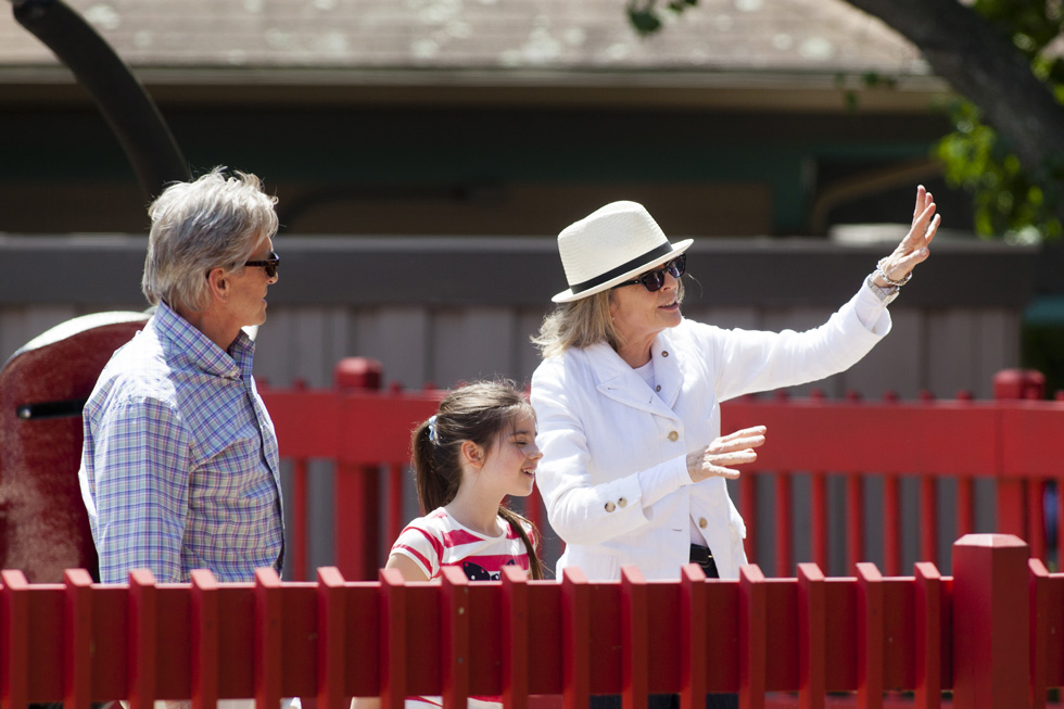 "2013.07.08 - Bristol, CT - Michael Douglas, Diane Keaton, and child actress Sterling Jerins take part in the filming of the Rob Reiner movie, ""And So It Goes,"" at the Twister ride at Lake Compounce Theme Park in Bristol on Monday. Photograph by Will Parson 