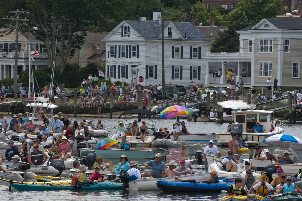 2013.07.21 - Mystic, CT - Crowds gather by land and by sea around the Mystic Seport to watch the launch of the Charles W. Morgan. Photograph by Mark Mirko | mmirko@courant.com