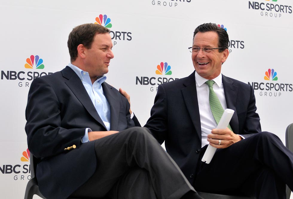 Mark Lazarus, NBC Sports Group Chairman, and Gov. Dannel P. Malloy, share a laugh before cutting the ceremonial ribbon with local dignitaries and top executives.