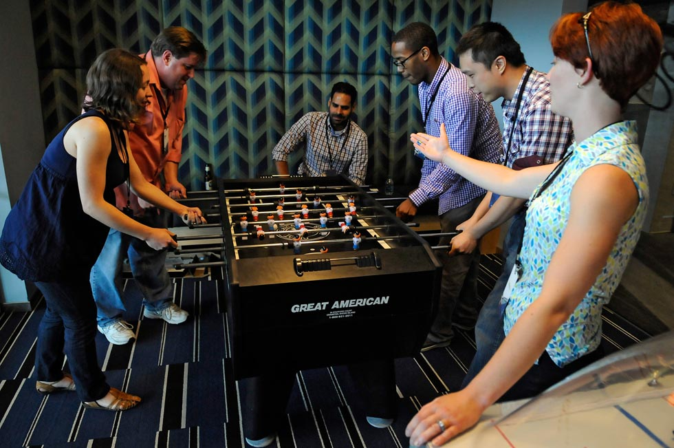 Employees can enjoy a game of foosball on breaks, relax in the spacious lobby or grab a bite to eat in the well appointed cafeteria.