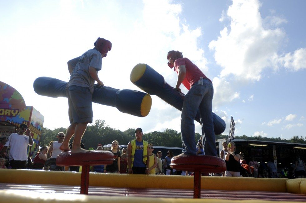 Rob Nowobilski, left, of Simsbury and Dan Chowaniec, of Harwinton, battle to a draw at one of the attractions.