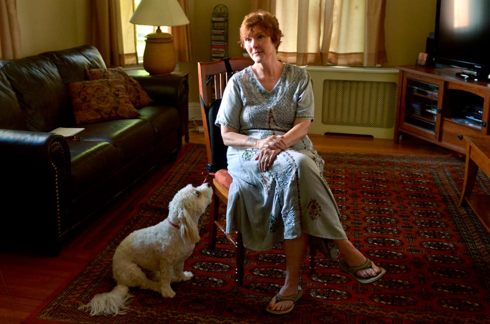 With her faithful Freckles by her side, Sharon Ann Scully, 57, of West Hartford speaks about her diagnosis of early onset Alzheimers disease and the unconditional love she gets from Freckles..  There is no known cure for Alzheimer's.