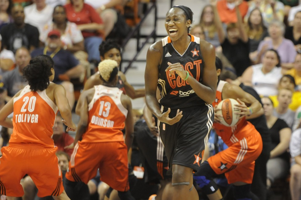 Tina Charles, of the Connecticut Sun, 31, reacts after missing a shot late in the fourth quarter.