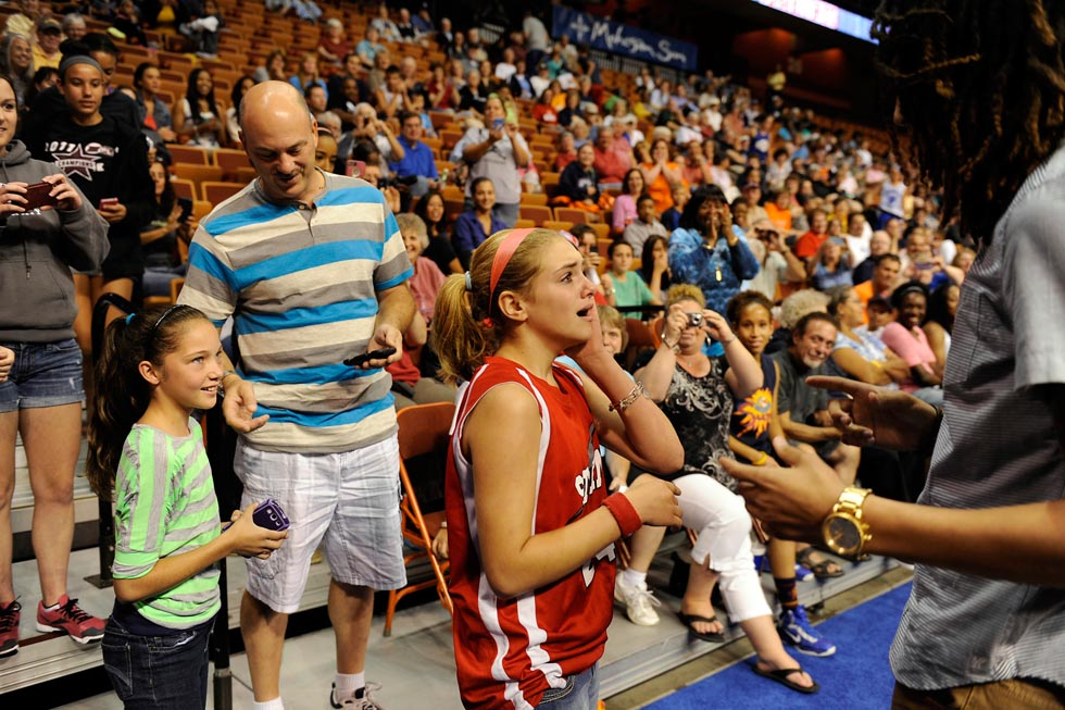 When Krapf came face to face with her idol she was overcome with emotion as Griner came over to greet the young fan.