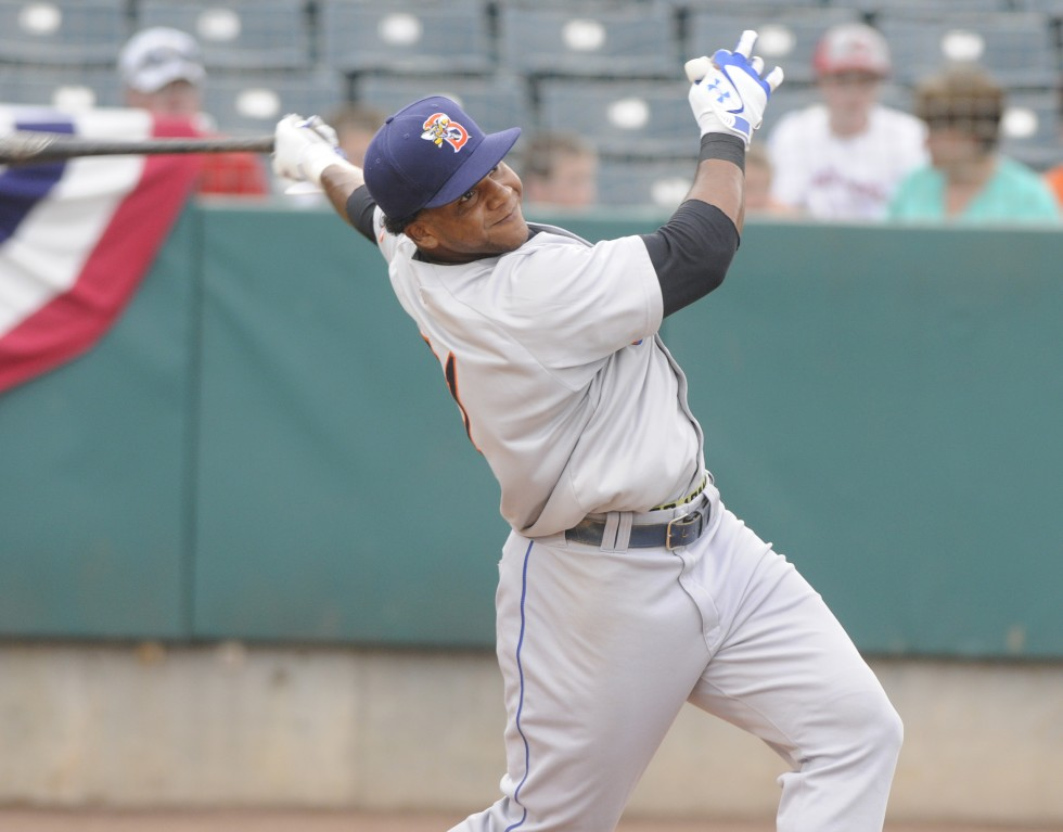 Cesar Puello, of the Binghamton Mets, take a swing during the home run derby.