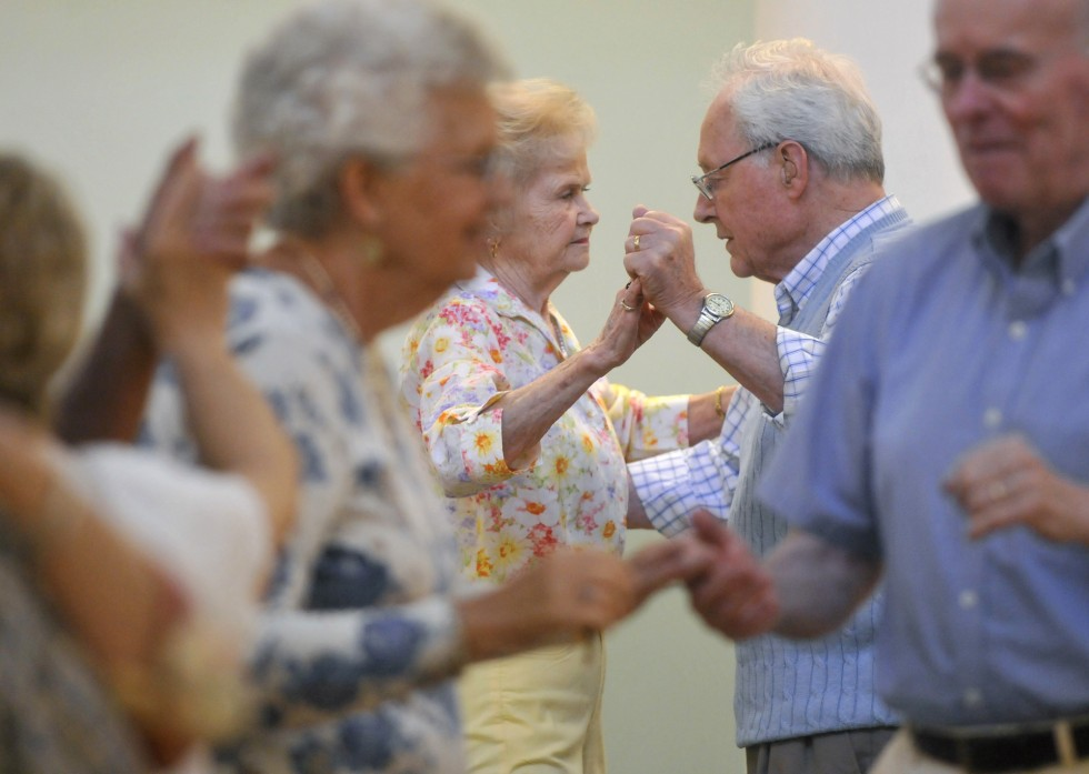 2013.07.26 – Enfield, CT – Former Enfield Police Chief Herb Foy dances with his wife Marge Foy at the Enfield Senior Center's monthly ballroom dance Friday. Photograph by Brad Horrigan | bhorrigan@courant.com