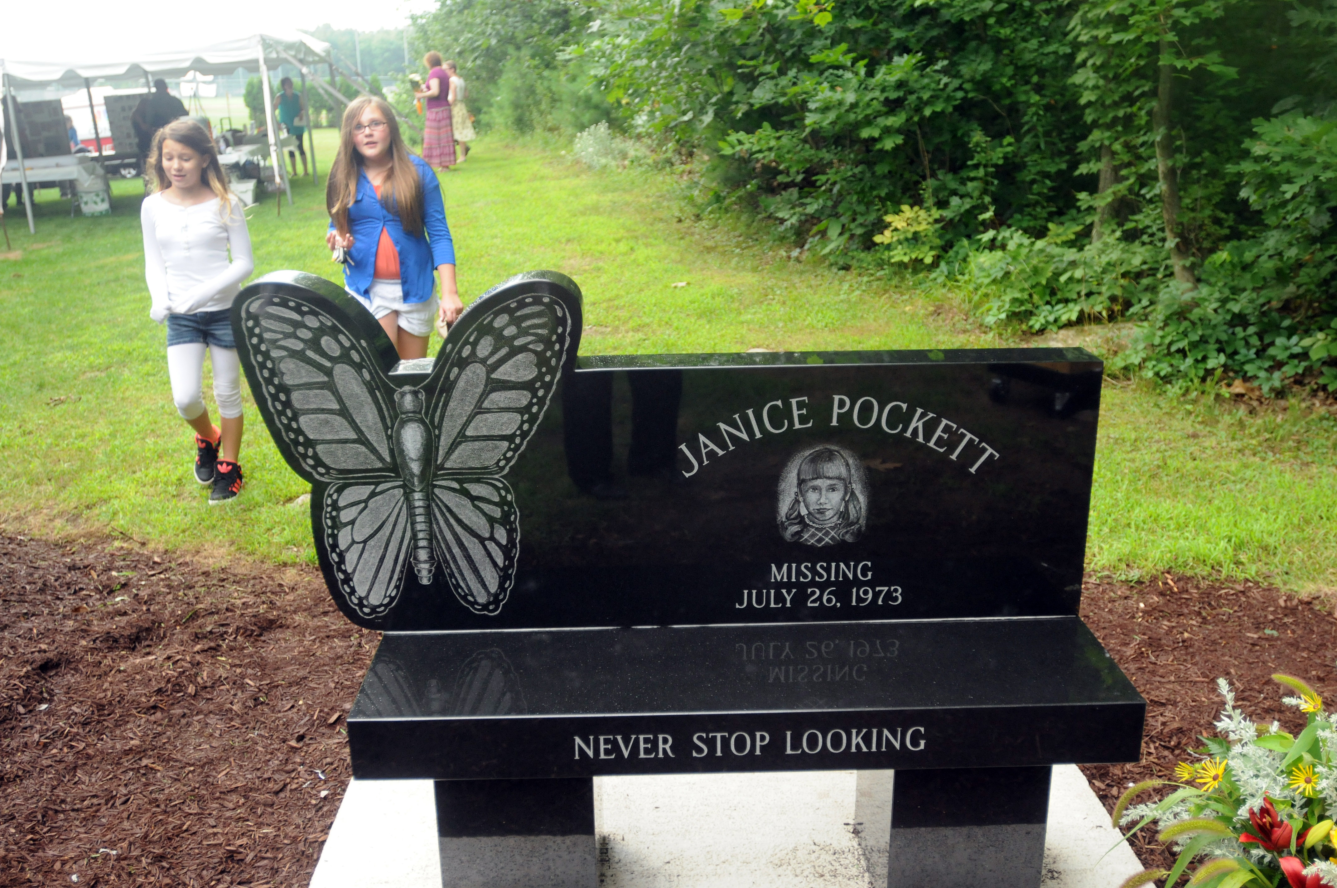 The  bench at the ceremony honoring Janice Pockett.
