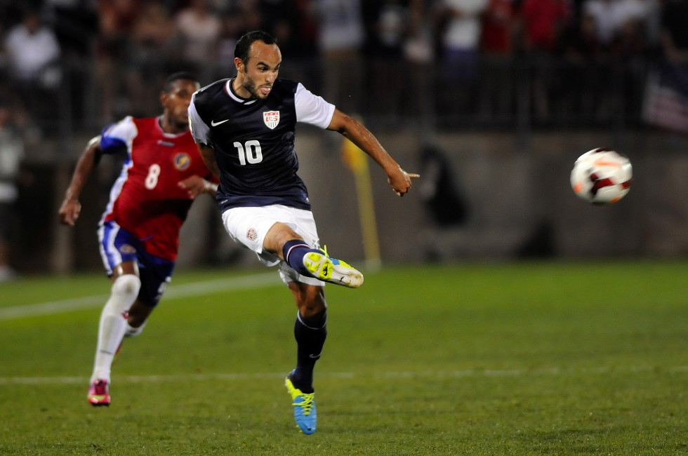 Landon, Donovan, 10, of the United States, makes a center pass to Brek Shea, 23, of the United States for an asset on the only goal scored in the game.