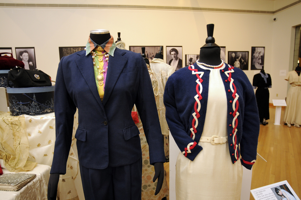 Several outfits once worn by Beatrice Fox Auerbach are on display at the exhibit.