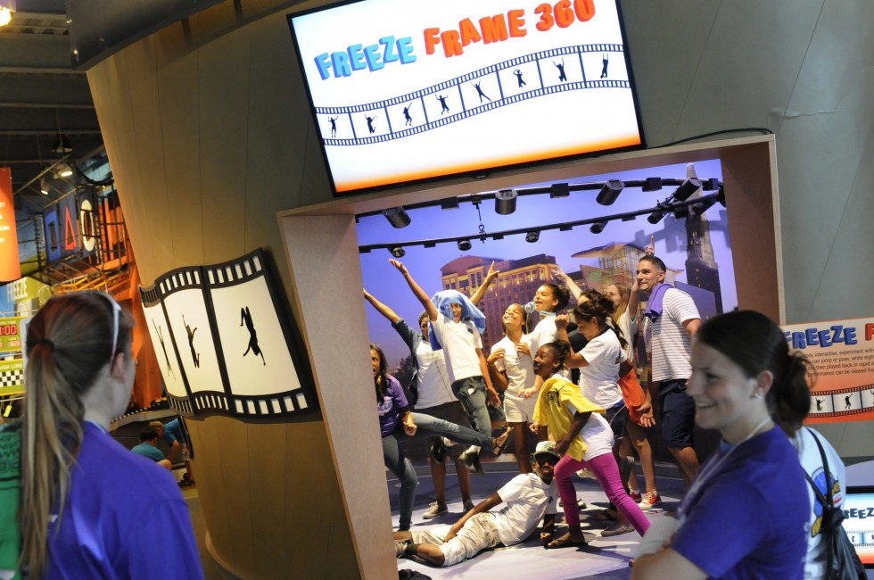 Students from the New Britain CPEP program participate in an exhibit in the Forces in Motion exhibit at the Science Center in Hartford.