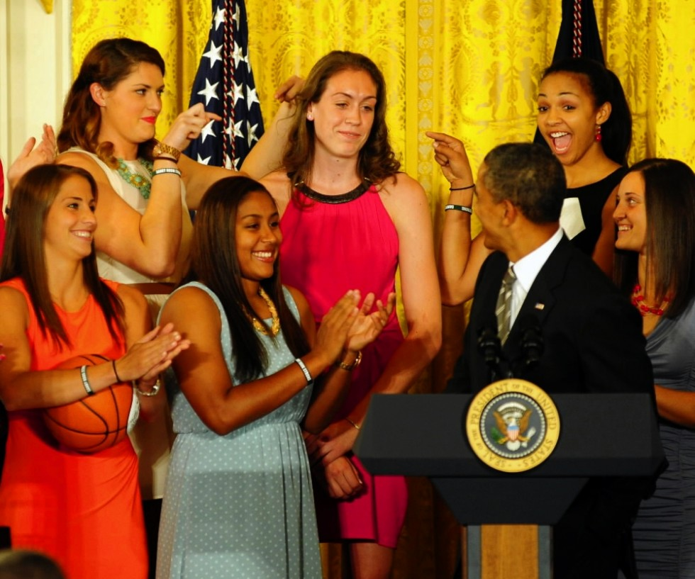 Washington, DC, USA;  United States president Barack Obama (right) gestures towards Connecticut Huskies forward Breanna Stewart (top, center) during a visit to the White House. Photo by Evan Habeeb - USA TODAY Sports