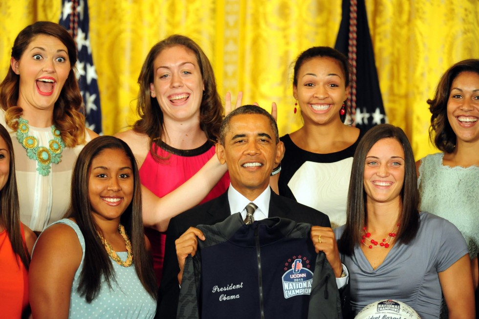 Washington, DC, USA;  Connecticut Huskies forward Breanna Stewart (top row, second from left) gives President Barack Obama bunny ears during the Connecticut Huskies White House Visit at the White House. Photo by Evan Habeeb - USA TODAY Sports