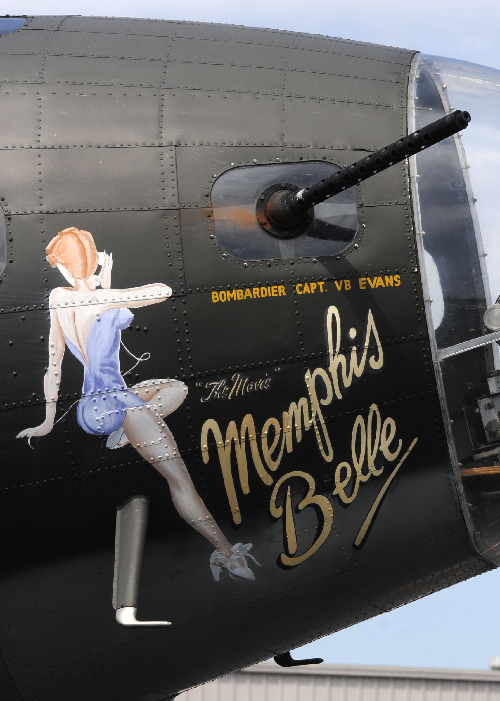 """The B-17 Flying Fortress """"Movie Memphis Belle"""" is parked at Brainard Airport in Hartford during a visit to the city Monday."""
