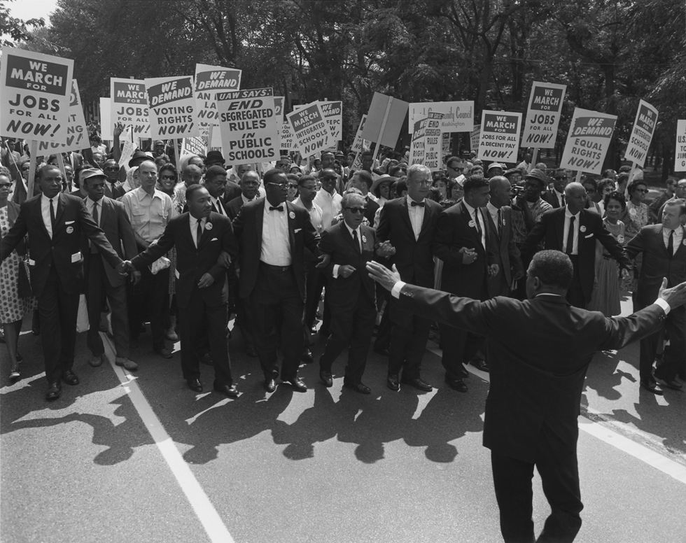 Civil rights leaders, including Martin Luther King Jr., Joseph L. Rauh Jr., Whitney Young, Roy Wilkins, A. Philip Randolph,Walter Reuther, and Sam Weinblatt lead the March on Washington in 1963. Hartford Courant file photo
