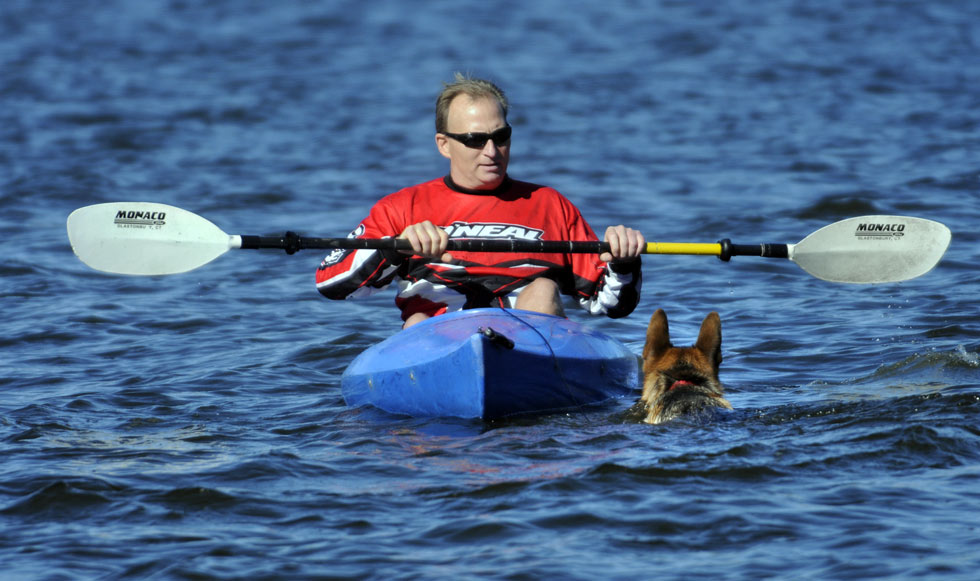 Ed and Max out for their daily paddle/swim.