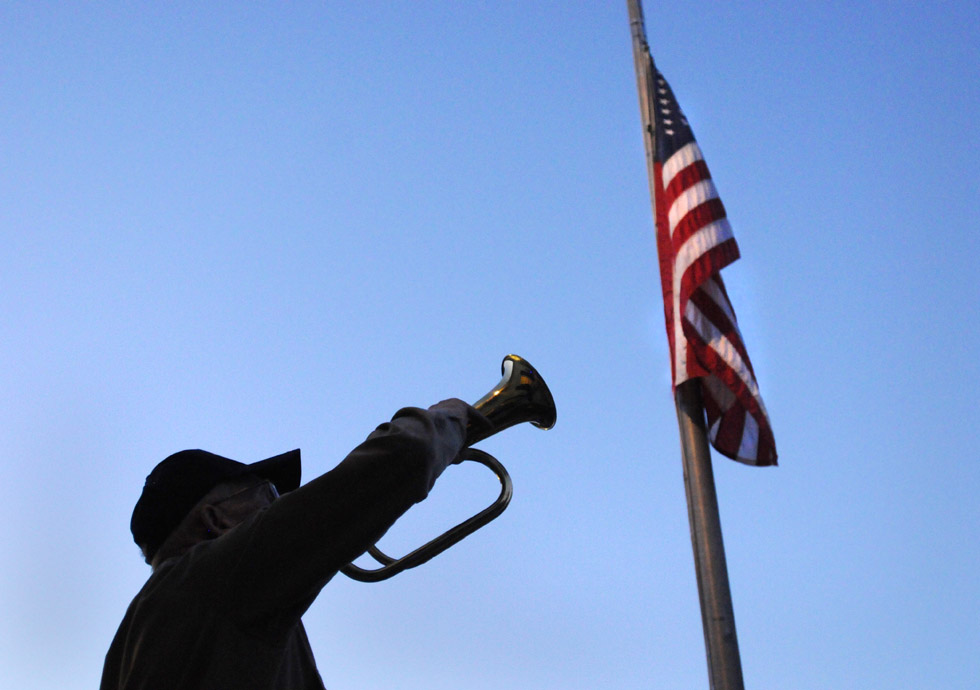 "New Fairfield veteran Stanley Britton plays taps at during a  9-11 memorial ceremony, which also honored Staff Sgt. Todd James ""TJ"" Lobraico,  (RICK HARTFORD