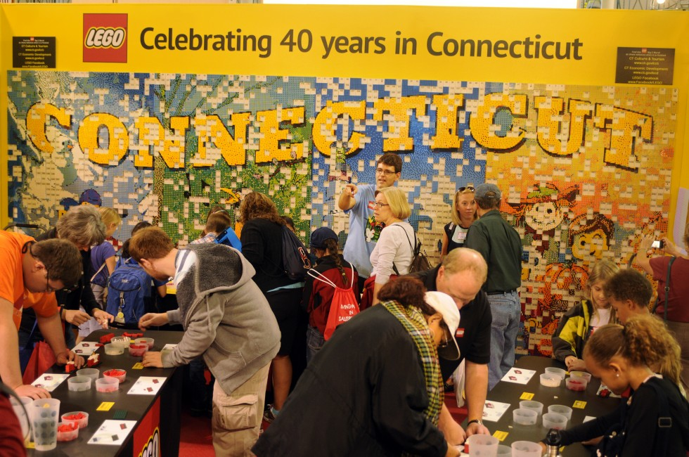 Lego Corporation, which has an office in Enfield, took over a large portion of the Connecticut building to build a mural of Lego's interpretation of the four seasons of Connecticut. Children have been assembling 5,600 color coded squares made up of six by pieces of legos, which are then attached to the mural according to their number.