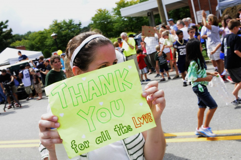 The Sandy Hook Elementary School received applause a throughout the parade, and a standing ovation when they passed the judging station on Queen Street.