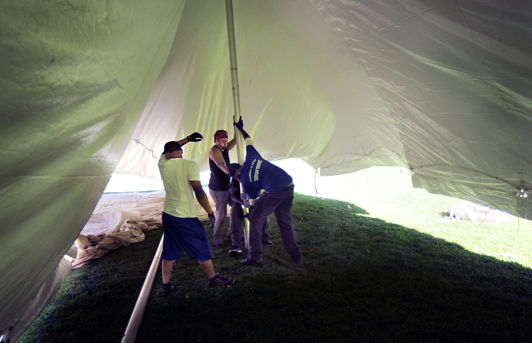 This 30'X75'  tent is one of the largest to be set up in the park.
