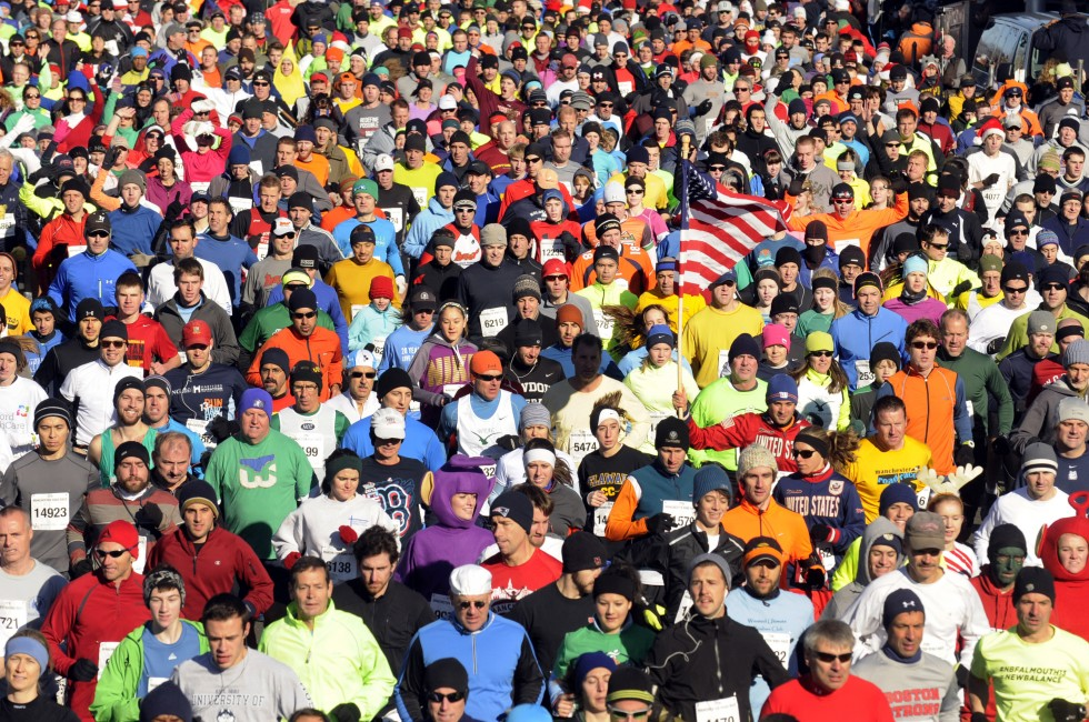 The crowd at the start of the 2013 Manchester Road Race. (MRR Photo by John Long)