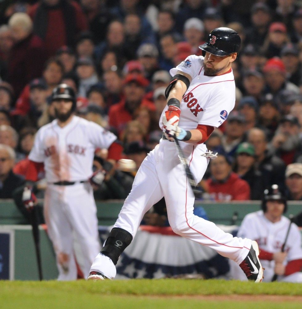 Jacoby Ellsbury hits a double in the bottom of the fourth inning of game six of the World Series.   The Red Sox won game six by a score of 6 to 1 to win the 2013 World Series.