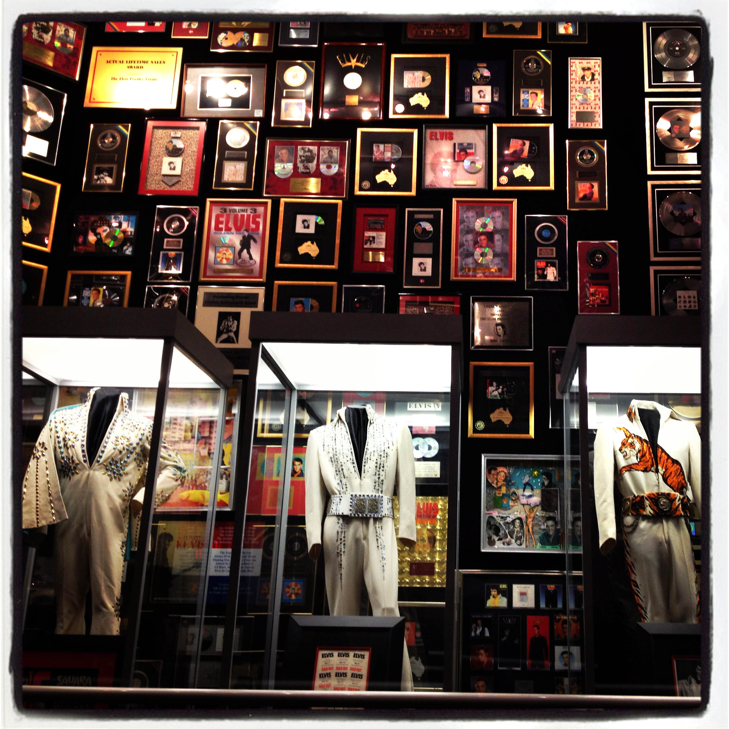 MEMPHIS, TN 01/03/14 The walls of the racketball building on the Graceland grounds are covered with Elvis memorabilia, including several performance costumes.  CLOE POISSON|cpoisson@courant.com