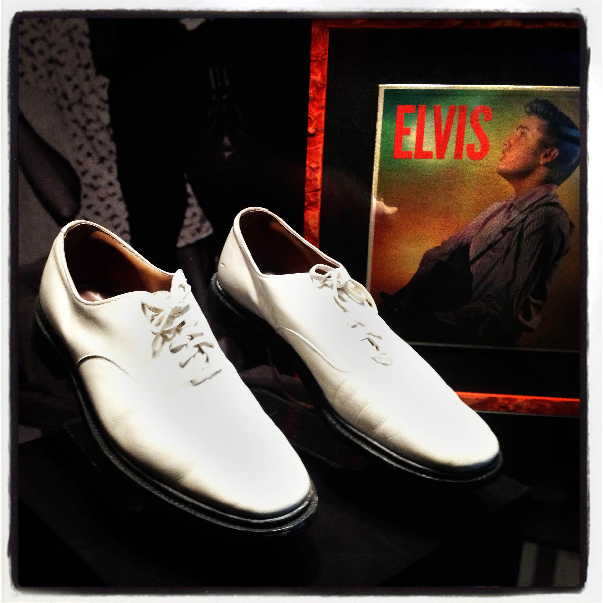 MEMPHIS, TN 01/03/14 A pair of Elvis Presley's white bucks are on display with other memorabilia at Graceland.  CLOE POISSON|cpoisson@courant.com