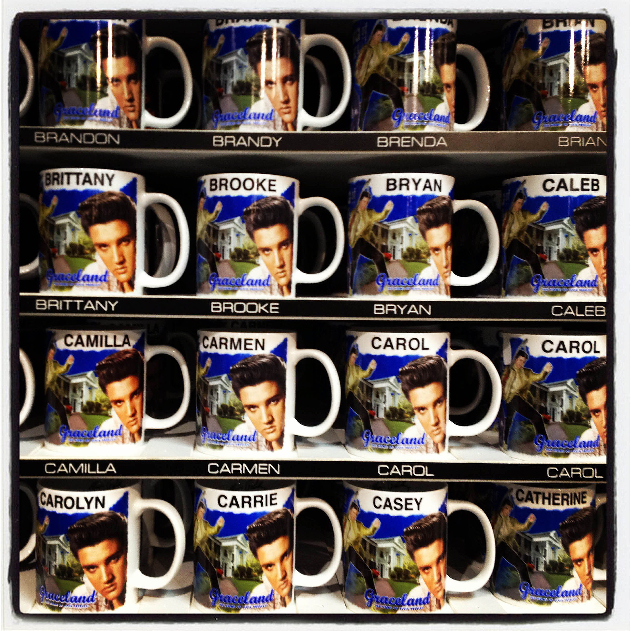 MEMPHIS, TN 01/03/14 The giftshop at Graceland sells personalized mugs with Elvis's image.  CLOE POISSON|cpoisson@courant.com