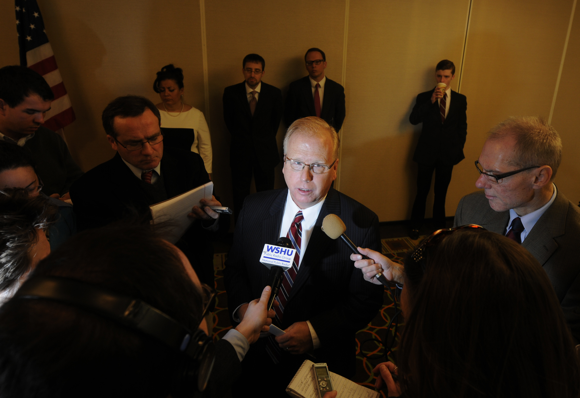 Danbury Mayor Mark Boughton announced Wednesday that he is running for governor. He speaks with the Connecticut media after he made his declaration.