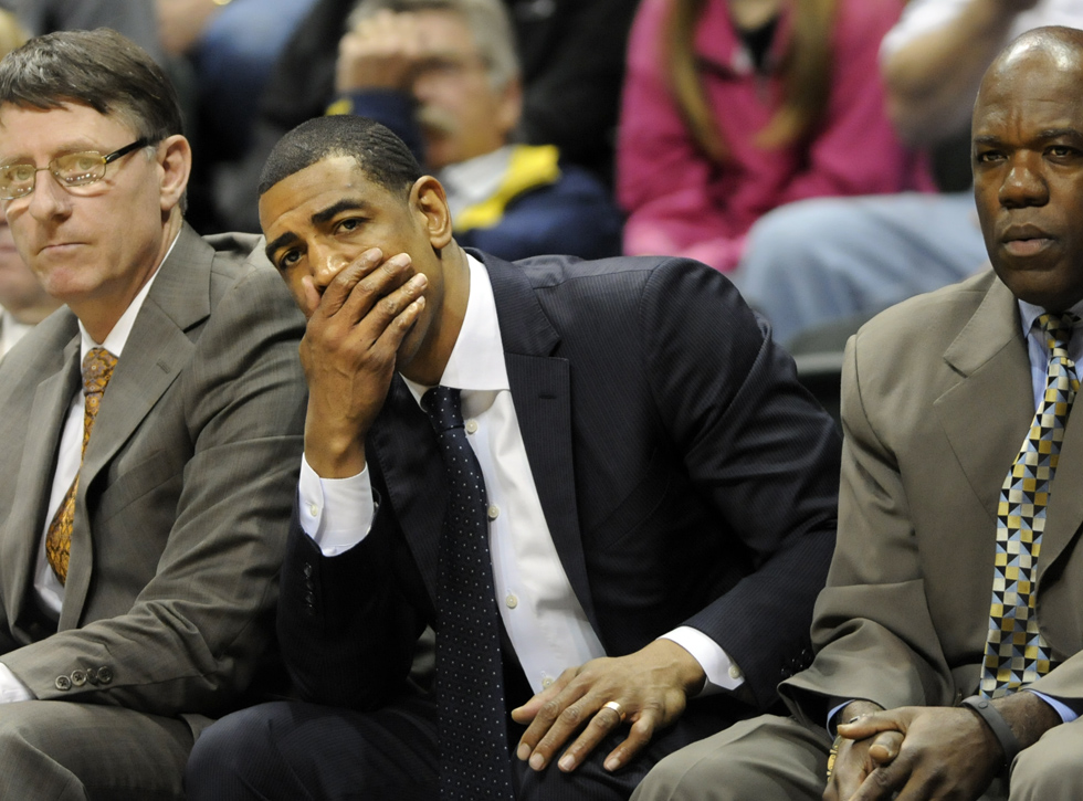 Coach Kevin Ollie looked a bit worried as USF dominated most of the game.