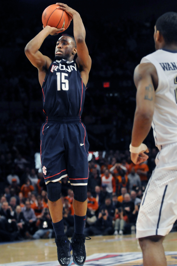 Kemba Walker gets off this shot at the buzzer to break a tie with Pitt and win the game. UConn met Pitt for the quarter-final game of the Big East tournament at Madison Square Garden Thursday at noon. UConn won, 76-74.