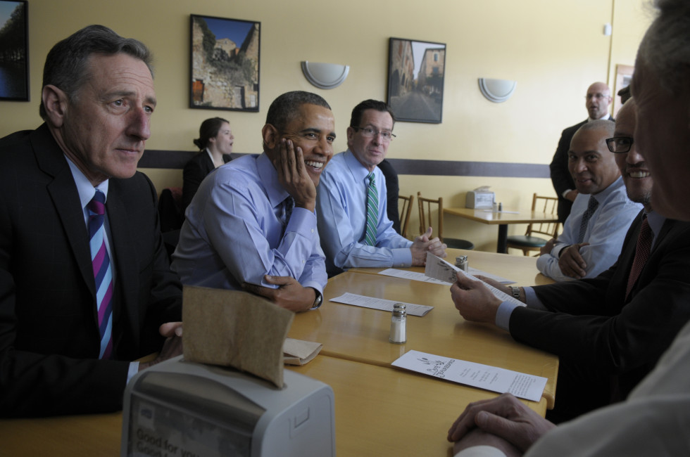 From left, Vermont Gov. Peter Shumlin, President Barack Obama, Gov. Dannel P. Malloy, Massachusetts Gov. Deval Patrick, Tom Perez, Sec. of Labor, and Rhode Island Gov. Lincoln Chafee, sit together for lunch at Cafe Beauregard, in New Britain, before heading over to CCSU for Obama's speech on the minimum wage.