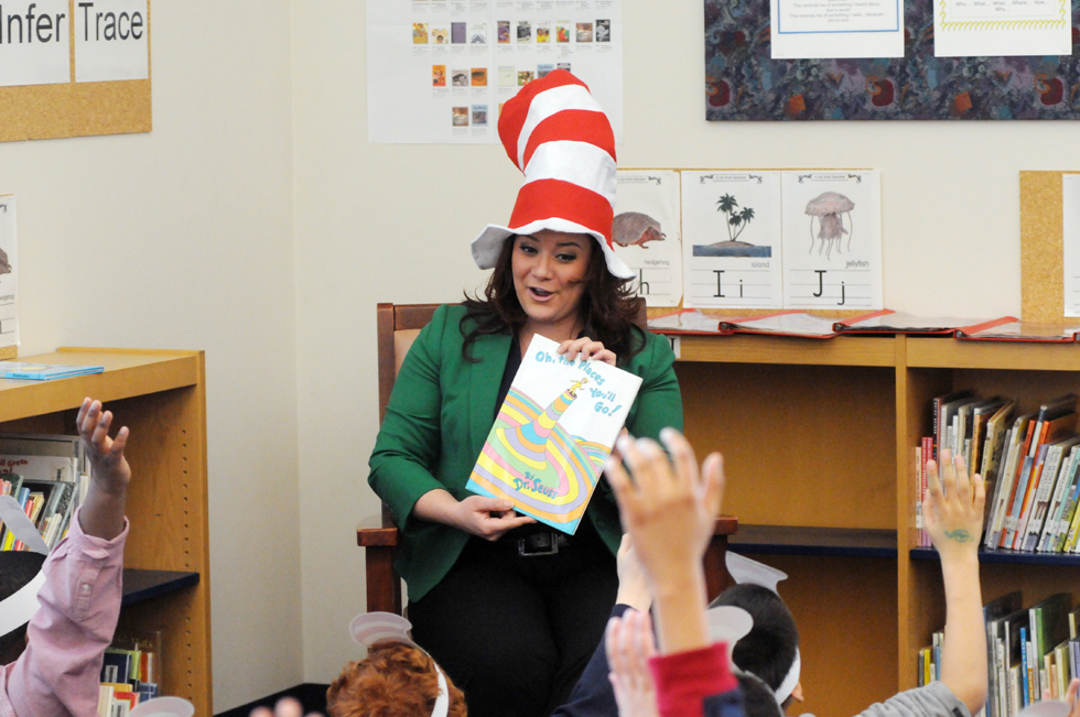 "New Britain Mayor Erin Stewart reads the Dr. Seuss book ""Oh, the Places You'll Go"" to students at Smalley Academy in New Britain Monday afternoon as Read Across America Day, also known as Dr. Seuss Day, was celebrated throughout the school. March 2, 2014, marked Dr. Seuss' 110th birthday. Theodor Seuss Geisel was born March 2, 1904 in Springfield, Massachusetts."