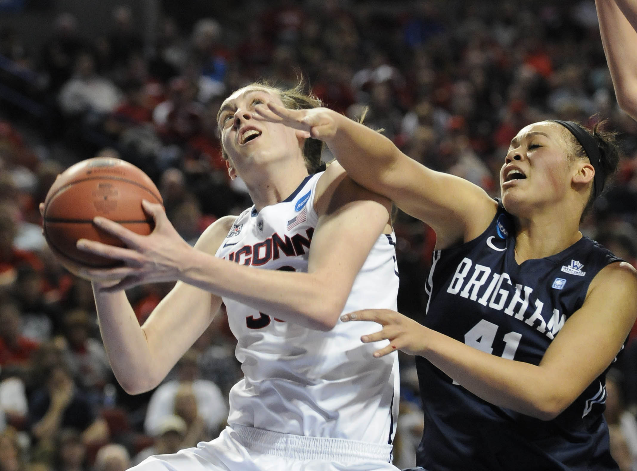 LINCOLN, NE 03/28/14 UConn Huskies forward Breanna Stewart (30) is defended by Brigham Young Cougars forward Morgan Bailey (41) in the first half of an NCAA Sweet Sixteen game at the Pinnacle Bank Arena Saturday.  CLOE POISSON|cpoisson@courant.com