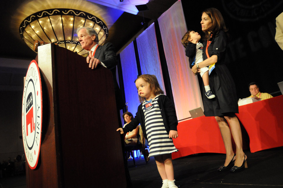 UNCASVILLE--5/17/14--The Foley family on stage at the Republican Convention at the Mohegan Sun in Uncasville Saturday.