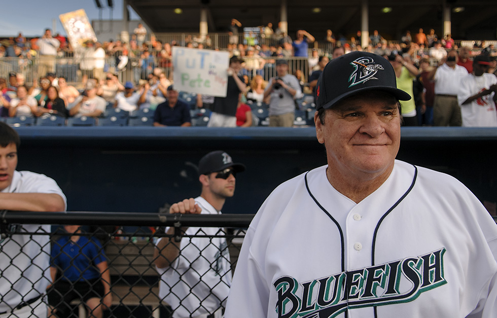 06.16.2014 - Bridgeport, Ct - With 4, 256 hits to his credit, baseball's all-time hits leader, Pete Rose, 73, looks out over the Bridgeport Bluefish diamond as his team takes the field. Photograph by Mark Mirko | mmirko@courant.com
