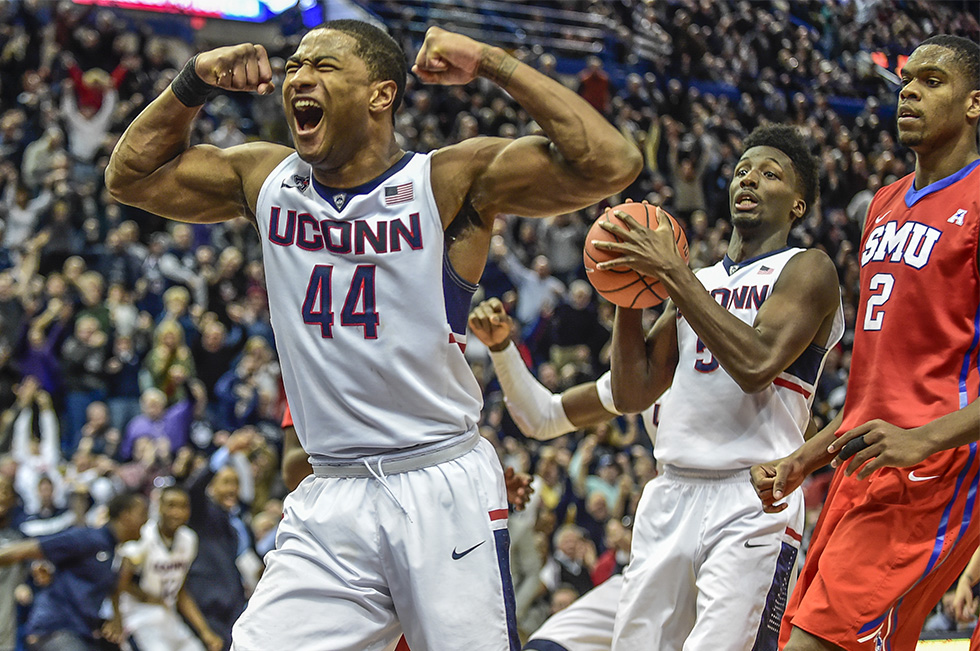 03.01.2015 - Hartford, Ct.  - UConn's Rodney Purvis celebrates after dropping two-points and getting fouled by Ryan Manuel of SMU in the second half. Purvis scored a team and career high 28-points as the Huskies defeated No. 21 Southern Methodist University 81-73 for their first win against an AP-ranked team this season. Photograph by Mark Mirko | mmirko@courant.com