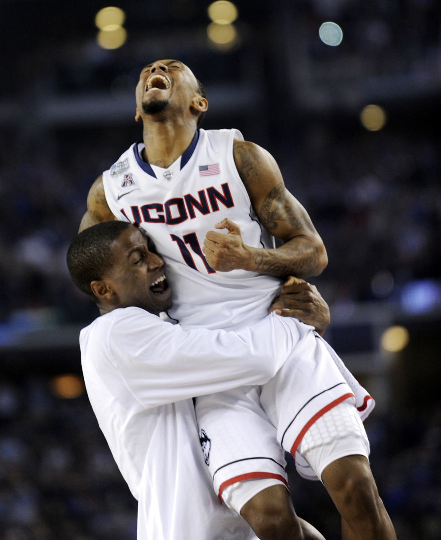 AND THIS?  Only a year ago, Ryan Boatright screams at the buzzer and is held aloft by Kentan Facey as his team become national champions.